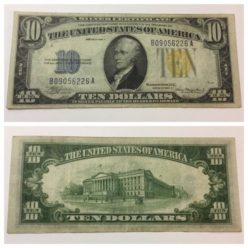 VINTAGE rare AFRICA $10 1934-A SILVER CERTIFICATE TEN DOLLAR YELLOW GOLD DOLLARS