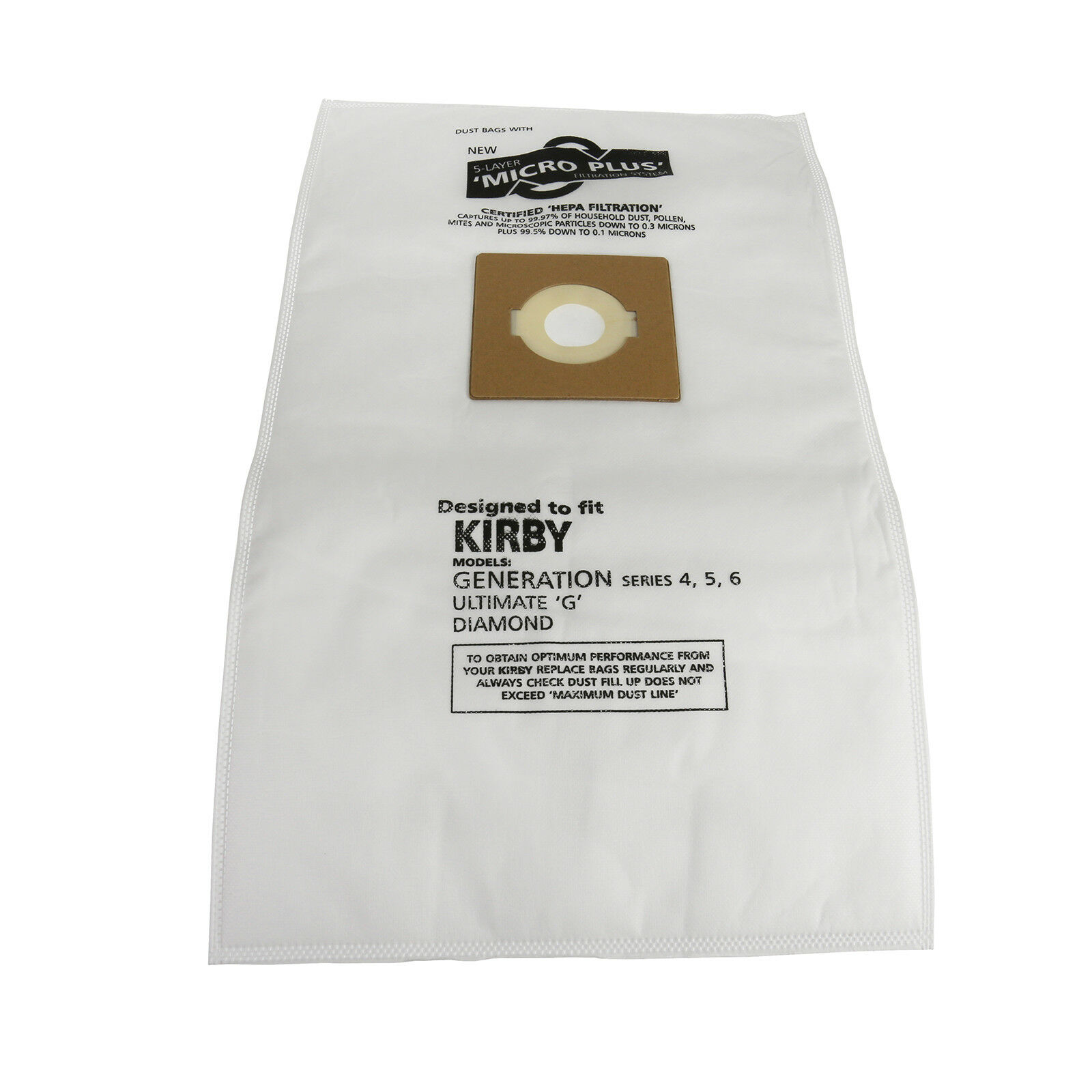 Pack of 5 Microfibre Dust Bags For Kirby Generation 4 5 6 Diamond Vacuum Cleaner