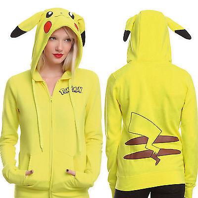 Womens Pokemon Coat Pikachu Anime Cartoon Cosplay Costume Sweatshirt Hoodie Tops