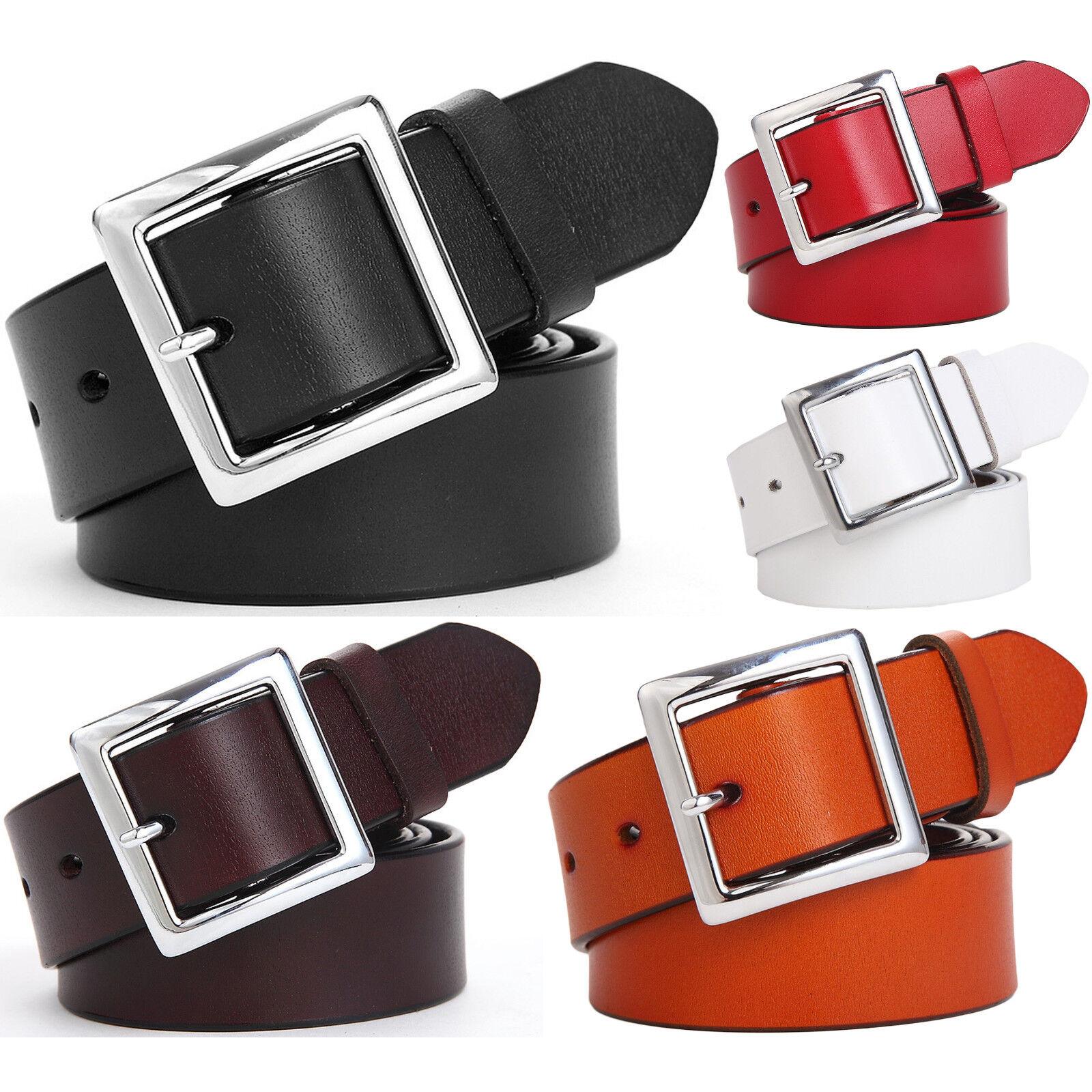 Women's Jean Belt, Classic Square Buckle Handcrafted Leather Belt Belts