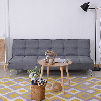 Schlafsofa 3-Sitzer Schlafcouch Sofabett Schlaffunktion Leinen Holzgestell