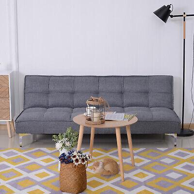 Schlafsofa 3-Sitzer Schlafcouch Sofabett Schlaffunktion Leinen Holzgestell Grau