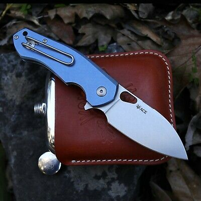 GIANT MOUSE ACE KNIVES BIBLIO BLUE TI SATIN BLADE M390 STEEL FOLDING KNIFE.
