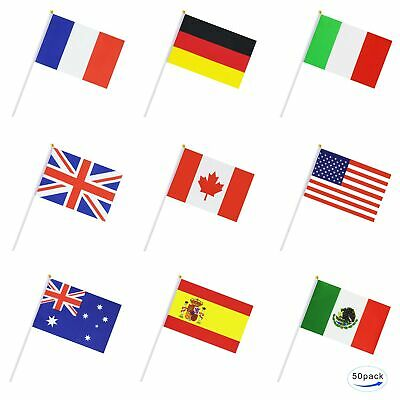 50 Countries International World Stick Flag,Hand Held Small Mini National Pen...