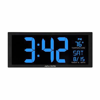 AcuRite 75152M Oversized Blue LED Clock with Indoor Temperature, Date & Fold-...