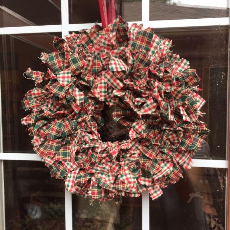 "HANDMADE 15"" CHRISTMAS 4 LAYER PLAID RAG WREATH -  RUSTIC PRIMITIVE COUNTRY"