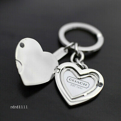 NEW COACH Signature Pave Crystal Heart Locket Photo Frame Keychain Key FOB -