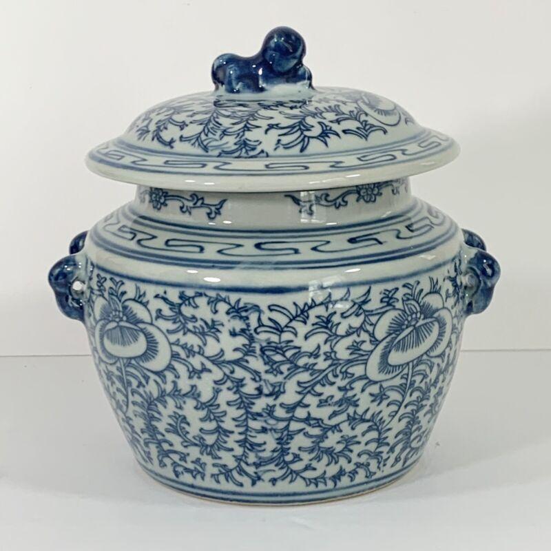 Chinese Blue White Porcelain Pottery Lidded Rice Jar Foo Dog