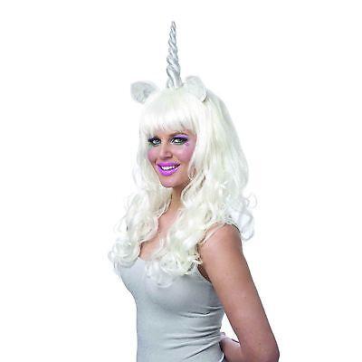 Womens White Silver Magical Unicorn Pony Horn Costume Long Wig Festival - Unicorn Costume Wig