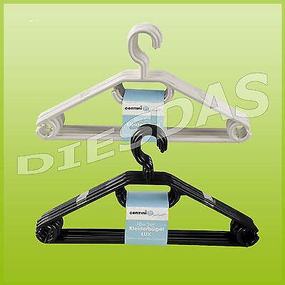 1 bis 300 Kleiderbügel Lux Kunststoff schwarz weiß mit Krawattenhalter drehbar ()