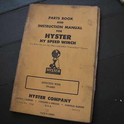 Hyster D6 D7 D8 Dw15 Tractor Winch Owner Operator Parts Manual Book Crawler Book