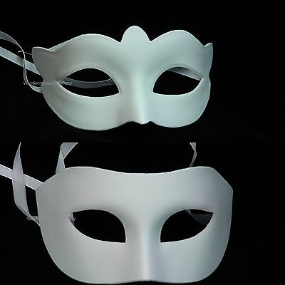 Couple White Blank DIY Masquerade ball Pair Costume Prom Dress up party eye mask - Couple Costumes Diy