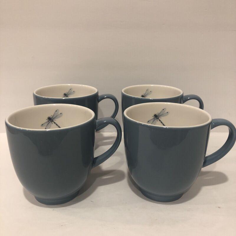 Portmeirion Lakeside Dragonfly Blue Mugs Set Of 4