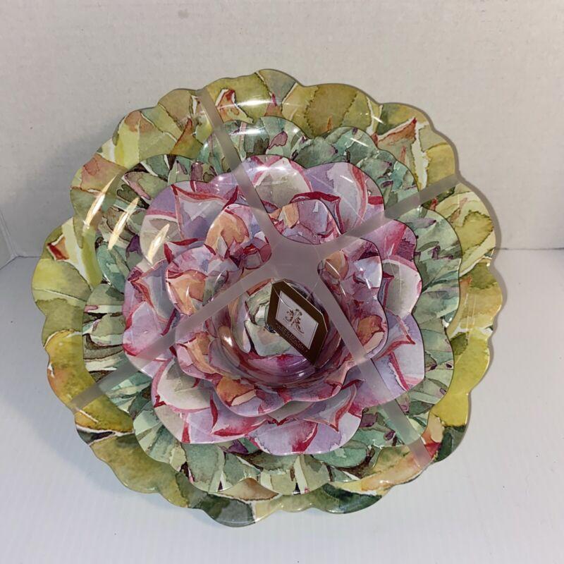 Rachel Ashwell Melamine Set 4 Flower Succulent Scalloped Nesting Serving Bowls