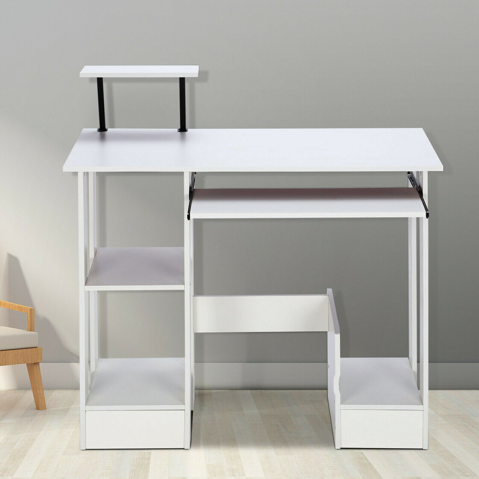 - White Small Computer Desk Student Laptop PC Study Table Home