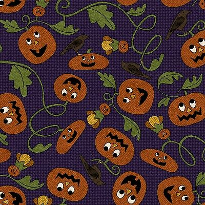 Pumpkin Party Halloween Flannel Vines in Purple ~ Bonnie Sullivan Maywood - Purple Halloween Pumpkin