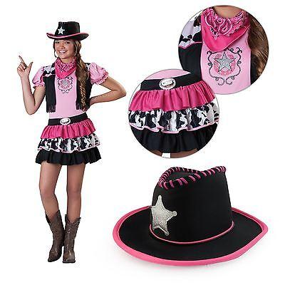 Mädchen Cowgirl Wilder Westen Jessie Rodeo Pink Kinder Kostüm + Hut Kopftuch (Jessie Kostüm Mädchen)