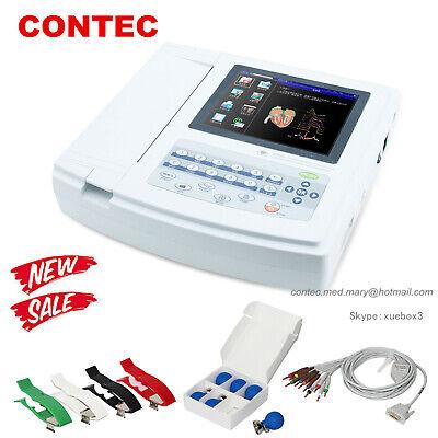 Contec Ecg1200g Digital 12 Channel Lead Ekgpc Sync Software Electrocardiograph