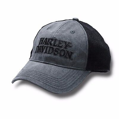 Harley-Davidson Men's Embroidered Skull & H-D Text Mesh Trucker Cap BCC119975