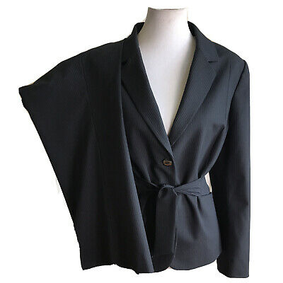 TAHARI Women 2 PC Black Striped Belted Pant Suit Size 16 P
