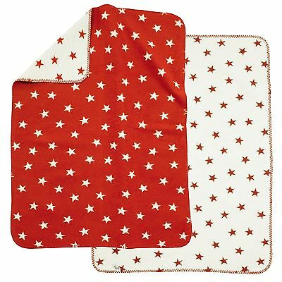 Alvi Baumwolldecke Kuscheldecke Babydecke Schmusedecke 75x100 Sterne rot NEU