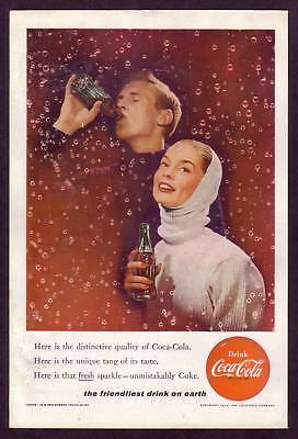 1950s Original Vintage Coca-Cola Bubble Man Woman Couple Fashion Art Print Ad