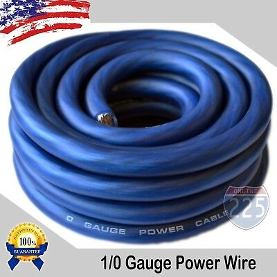 Used, 25Ft True 1/0 0 AWG Gauge Power Ground Wire Strand Cable 25' BLUE Ultra Flexible for sale  Orange