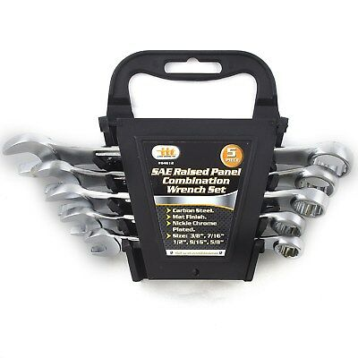 - 5 PIECE SAE RAISED PANEL COMBINATION WRENCHES Tool Set 84612