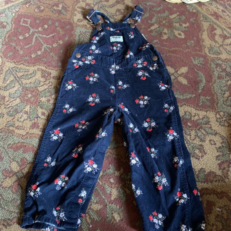 Vintage Oshkosh Girls Overalls 24 Months Blue Flowered Corduroy  Red White And B