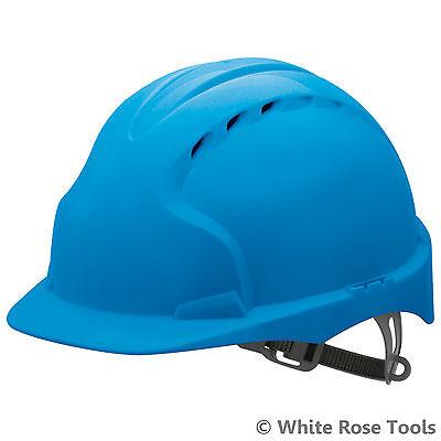 JSP Blue Evo2 Vented Safety Helmet Hard Har Standard Peak Builders Work PPE