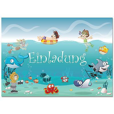 Einladungskarten mit Motiv Schwimmbad - Party Einladungen Kindergeburtstag Pool