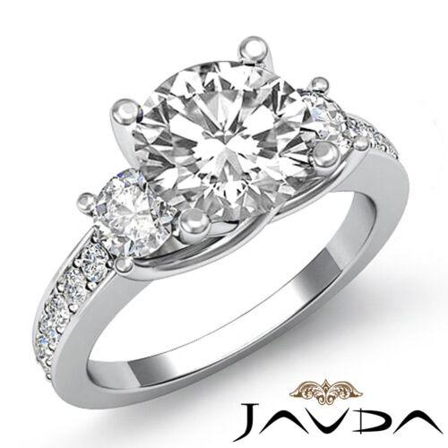 2.3ct Round Cut Natural Diamond Engagement 3 Stone Ring GIA F VS2 14k White Gold