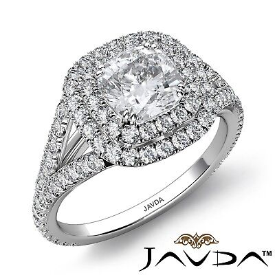 2.26ctw Double Halo Split Shank Cushion Diamond Engagement Ring GIA F-VVS2 Gold