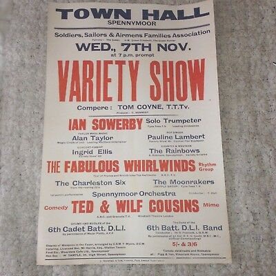 Rare 1960's Spennymoor Town Hall Variety Show Poster Skiffle Tom Coyne Comedy