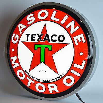 Texaco back lit LED wall lamp red Star Texas Oil Company globe opti neon sign
