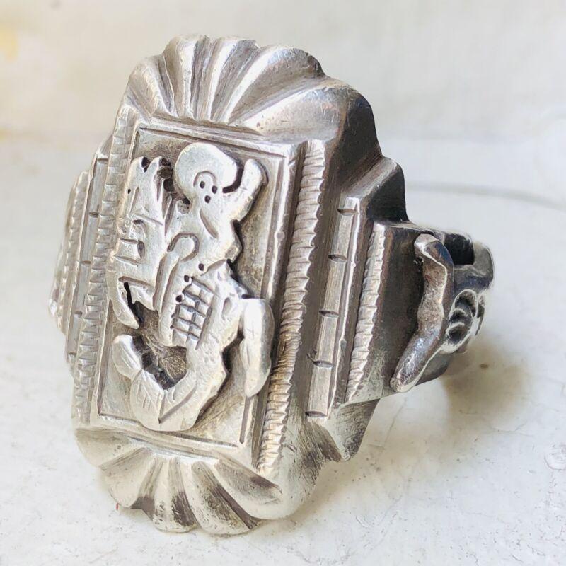 40s Vintage Mexican Biker Ring Mexico Cowboy Vaquero Sterling Silver Mens 50s