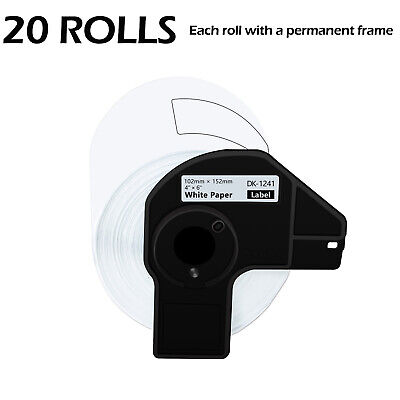 20 Roll 200 Shipping Labels Dk-1241 4 X 6 For Brother Ql-1050n Ql-1110nwb