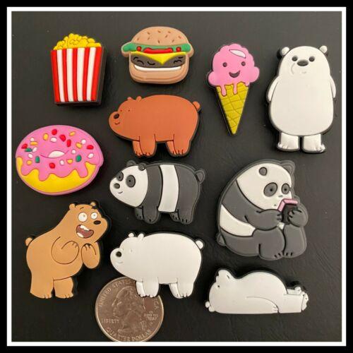 11 Shoe Charms for Crocs WE BARE BEARS Grizzly Panda Ice Polar Donut Popcorn