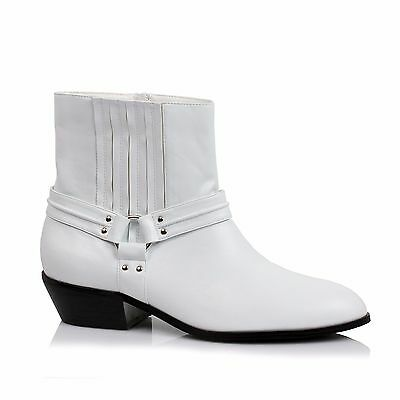 White Mens Dress Rodeo Riding Western Cowboy Mariachi Costume Ankle Boots Shoes (Cowboy Costume Boots)