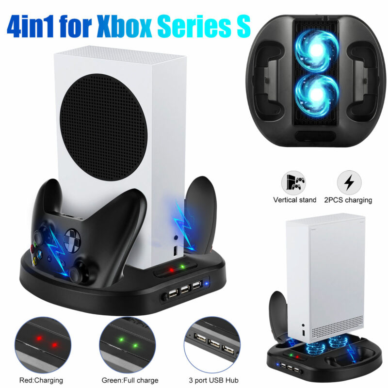 For Xbox Series S Console Vertical Stand Cooling Fan Controller Charging USB Hub