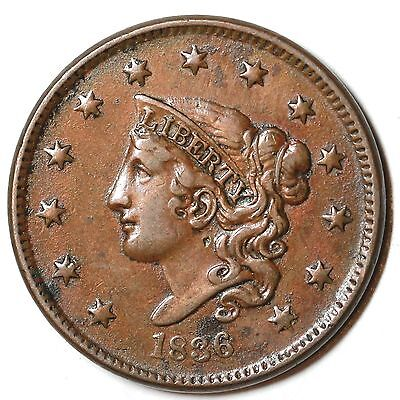 1836 N-2 R-2 MATRON OR CORONET HEAD LARGE CENT COIN 1C