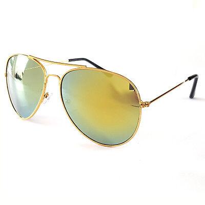 Sonnenbrille Pilotenbrille Fliegerbrille Brille Verspiegelt Gold Gelb