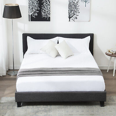 Full Slat Bedroom - Full Size Metal Bed Frame Platform Upholstered Headboard Slats Bedroom Furniture