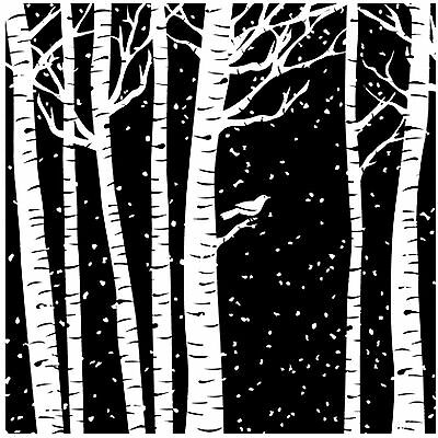 Birch Tree Cover A Card Background Unmounted Rubber Stamp Impression Obsession