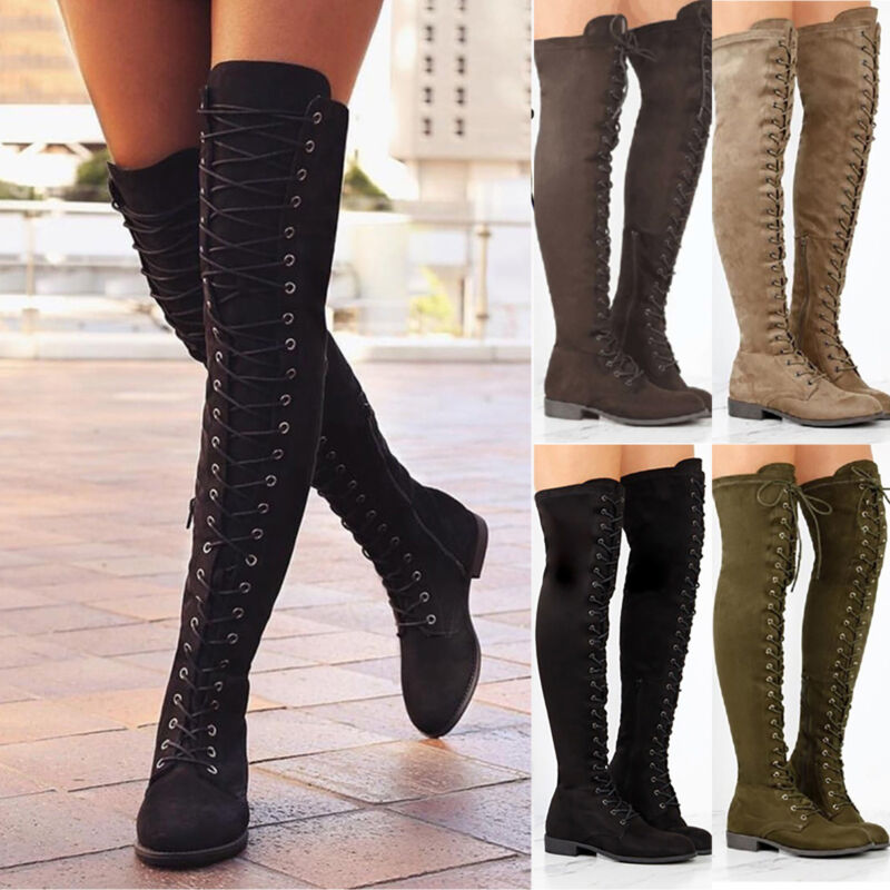 6398a1f36d3dfe Damen Overknee Lange Schnüren Stiefeletten Zipper Schlupfstiefel Boots  Schuhe DE