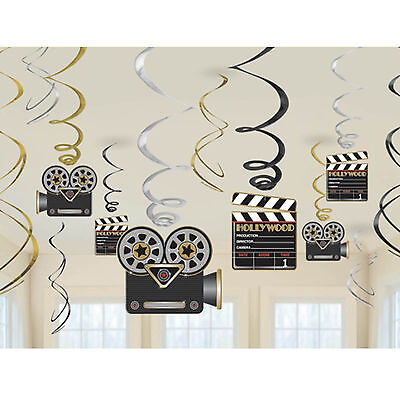 12 Assorted Hollywood Star Movies Party Hanging Cutout Foil Swirls Decorations