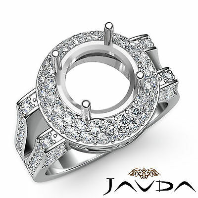 Diamond Engagement Filigree Ring Platinum 950 Halo Pave Round Semi Mount 1.1Ct
