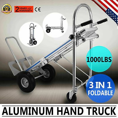 3-in-1 Aluminum Hand Truck Dolly 1000 Lb Utility Cart Folding Multifunction