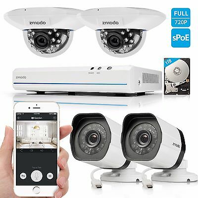 Zmodo 1080p 8CH PoE NVR Security System with 4 720p HD IP Network Cameras 1TB