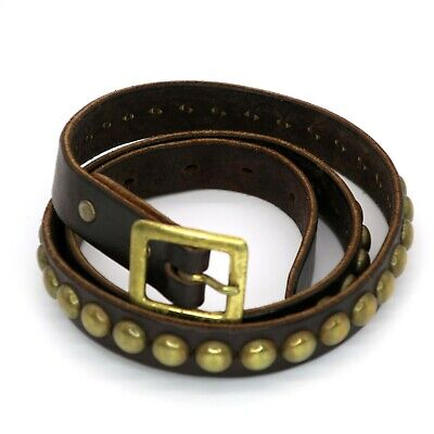 HTC Los Angeles Hollywood Trading Company Gold Studded Brown Leather Belt 32